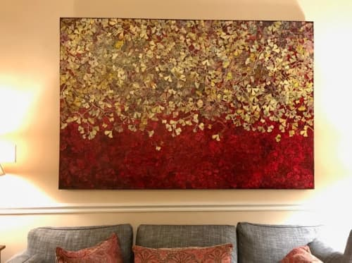 Art & Wall Decor by Rosemary Feit Covey seen at Private Residence, Washington - Gingko paintings/woodcuts