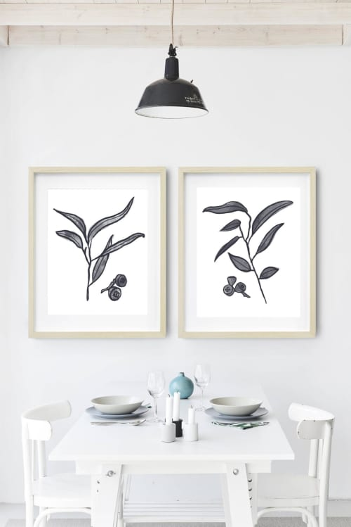 Paintings by Birdsong Prints - Set of 2 Botanical Art Prints, Eucalyptus, Black and White