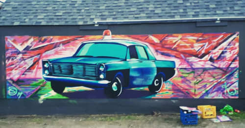 Street Murals by Kelly Wright Art seen at Private Residence, Kamloops - Busted