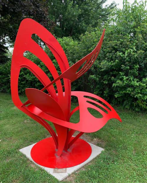 Growing Wings | Public Sculptures by Hilde DeBruyne Art & Design LLC | Rock Island Library Southwest Branch in Rock Island