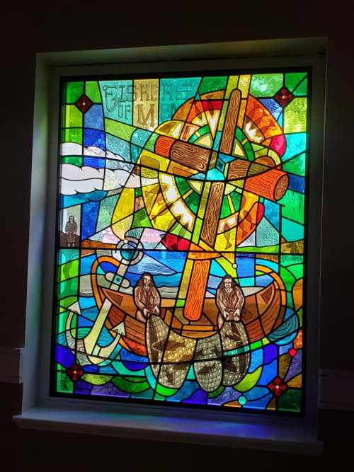 Fishers of men sanctuary window   Interior Design by Warren Simmons   Southminster Presbyterian Church and Southminster School in Missouri City