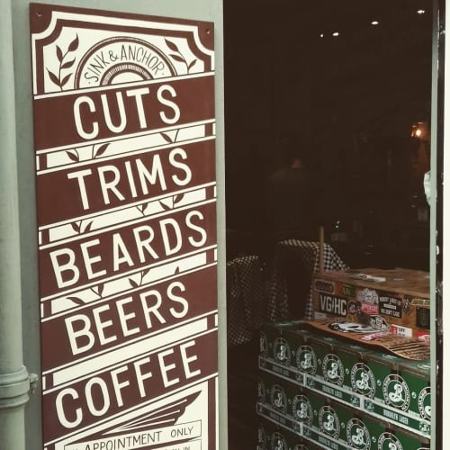 Board Signs   Signage by Journeyman Signs (TATCH)   Sink And Anchor Barbershop in Edinburgh