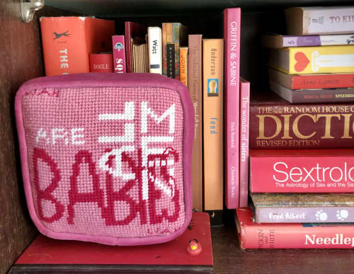Pillows by Mommani Threads seen at Creator's Studio, Blowing Rock - ALL MEN ARE BABIES Needlepoint Objet d'Art Pillow Box