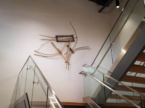 Icarus #5 Wooden Curvilinear Abstract Sculpture   Sculptures by Oliver Clark - We Are Clark Studios