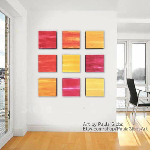 Paintings by Paula Gibbs seen at Tucson Area, Tucson - Wall of Color, Red, Yellow, Orange, by Paula Gibbs