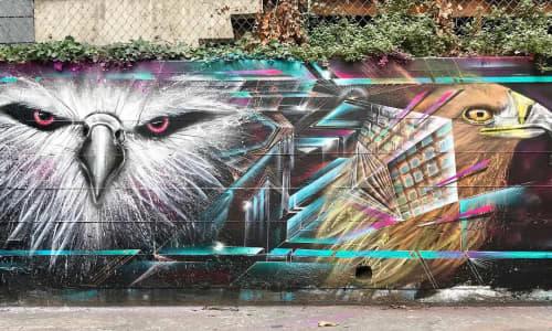 Street Murals by Max Ehrman (Eon75) seen at San Francisco, San Francisco - Bird and Abstract Study
