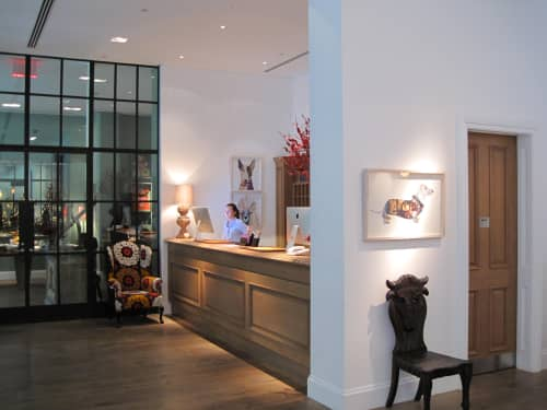 Artworks as part of Kit Kemp's permanent collection at The Crosby Street Hotel | Art & Wall Decor by Peter Clark Collage | Crosby Street Hotel in New York