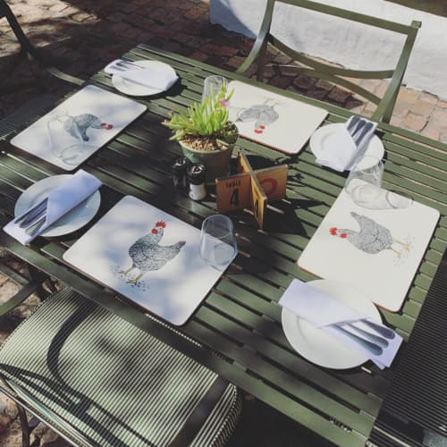 Tableware by Sera Holland seen at Eight Restaurant, Cape Town - Spier EIGHT placemats & illustration
