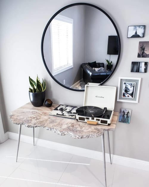 Titanium White Waxed Maple Burl Desk | Tables by Lumberlust Designs