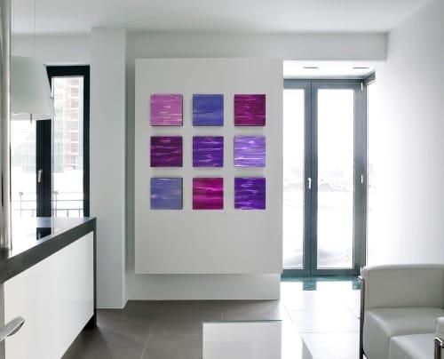 Paintings by Paula Gibbs seen at Artist Studio, Tucson - Wall of Color, Purples, 9 panels, by Paula Gibbs