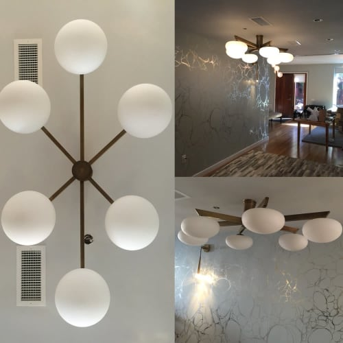 Brass + Glass Angelo Lelli style ceiling fixture | Lighting by CP Lighting