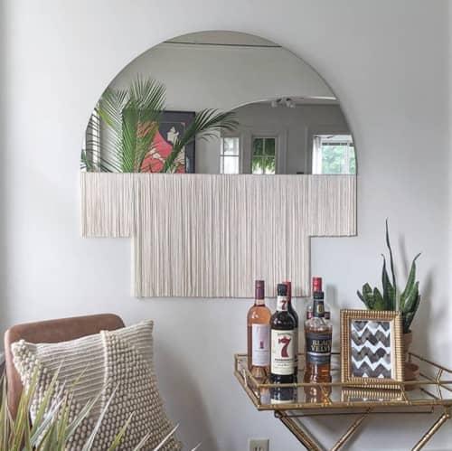 """Aria-Duet"" Modern half circle mirror fringe tinted macrame   Wall Hangings by Candice Luter Art & Interiors"