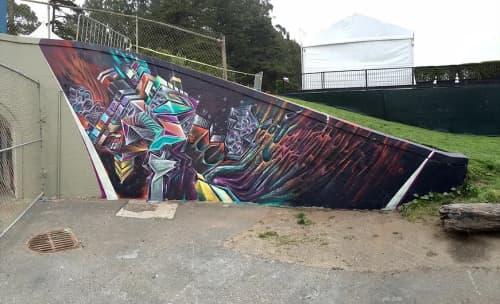 Street Murals by Max Ehrman (Eon75) seen at Golden Gate Park, San Francisco - Outside Lands 2016 mural
