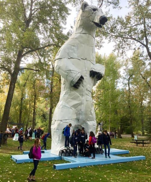 "Public Sculptures by Don Kennell seen at Prince's Island Park, Calgary - ""Longview Polar Bear"""