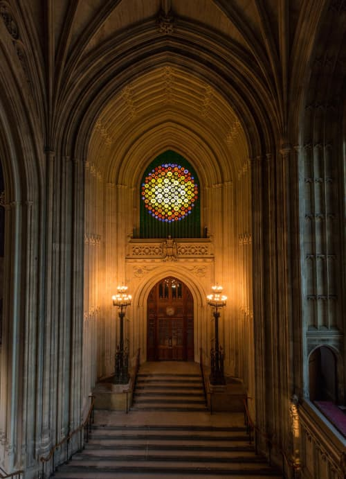 Public Sculptures by Mary Branson seen at Palace of Westminster, London - New Dawn