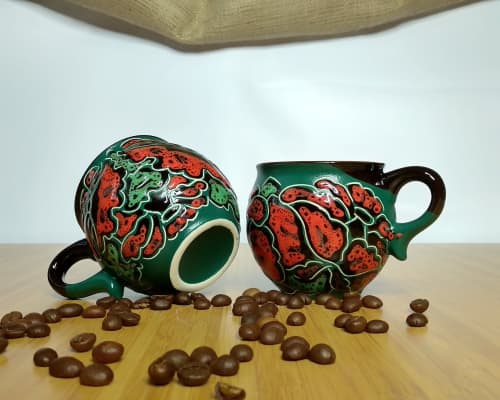 """Cups by Cupscho seen at Private Residence, Kharkiv - Pottery coffee mugs """"Poppy flowers"""" 6.6 fl oz (Set of 2 mugs)"""