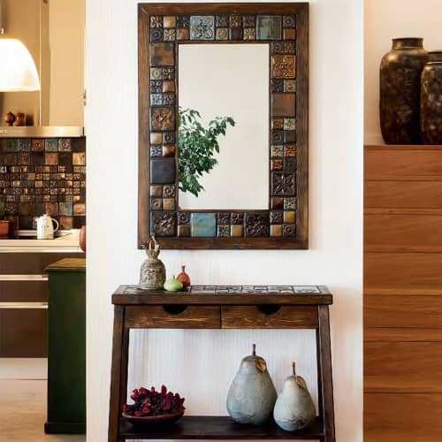 """""""Fossil""""  Ceramic Collage Wall Mirror   Wall Hangings by Skal Collective"""