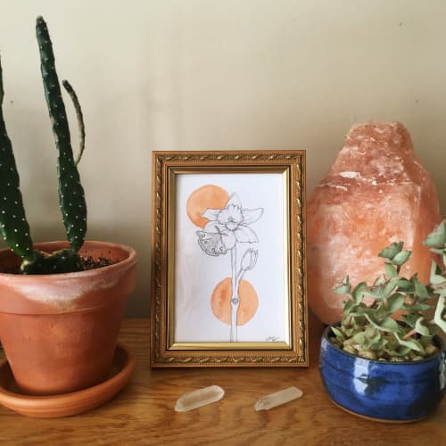 Moth & Daffodil | Paintings by Jillian Selene Art