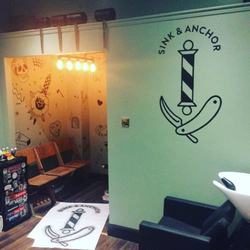 Sink And Anchor Logo | Murals by Journeyman Signs (TATCH) | Sink And Anchor Barbershop in Edinburgh