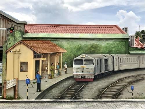 Street Murals by Yip Yew Chong seen at Rail Mall Kcuts, Singapore - Rail Mall - The Last Train