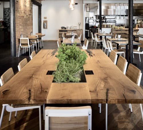 Tables by Project Sunday seen at Campos Coffee Roastery & Kitchen, Salt Lake City - Campos Communal Table