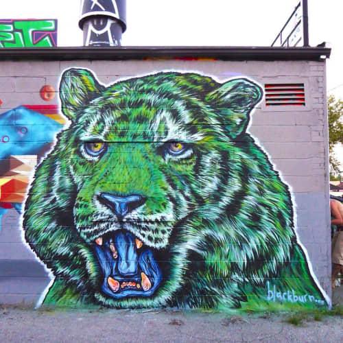 Street Murals by Jeff Blackburn seen at ASSURANCE COLLISION REPAIR, Toronto - Cosmic Tiger