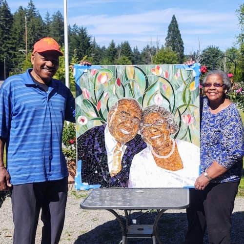 Wall Hangings by JK Mosaic, LLC - Mosaic portrait of Nat and Thelma Jackson