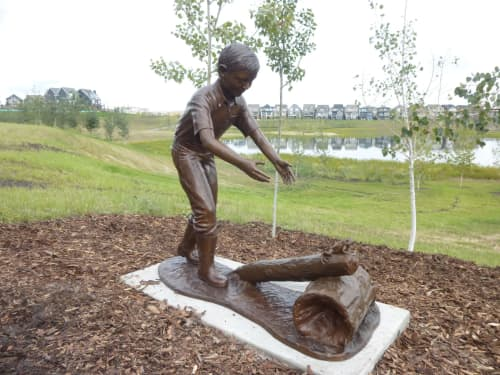 Wetlands - Boy & Frog | Public Sculptures by Don Begg / Studio West Bronze Foundry & Art Gallery
