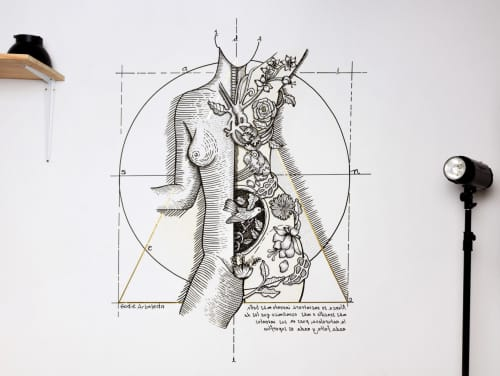 Murals by Godie Arboleda - Female study anatomy -  Mural
