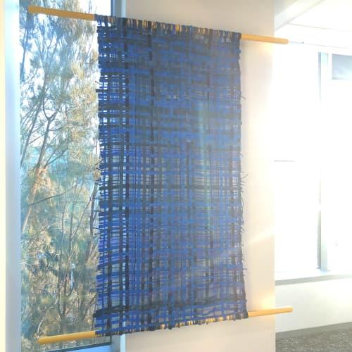 "Wall Hangings by ANTLRE - Hannah Sitzer seen at Google RWC SEA6, Redwood City - ""Blue Weaving"""