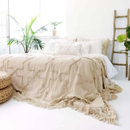 Sandy Handwoven Bedspread Set - Natural | Linens & Bedding by Coastal Boho Studio | Destin in Destin