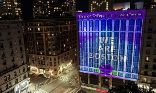 One Emerson: Virtual Commencement, Projection Installation | Public Art by Allison Tanenhaus | Emerson College Little Building in Boston
