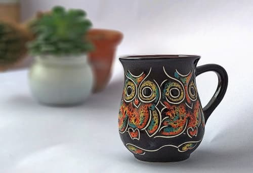 Cups by Cupscho seen at Private Residence, Kharkiv - Pottery coffee cup «Owls» 9.5 fl oz