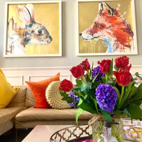 Paintings by Dave White seen at Private Residence - Rabbit Gold Leaf Edition and Fox Gold Leaf Edition