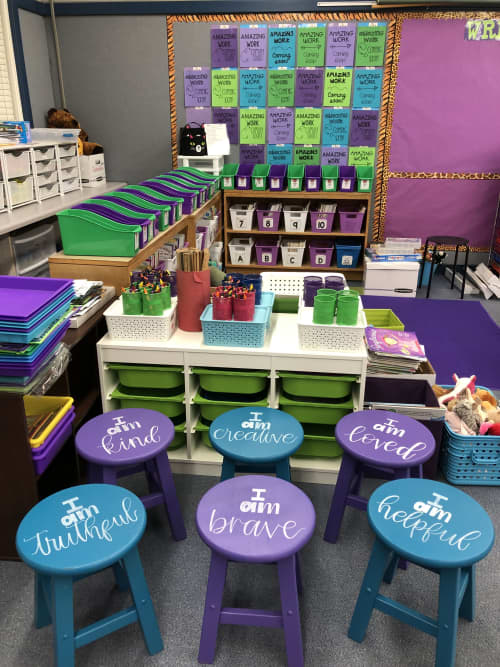 Affirmation Stools | Chairs by Lettered by Lauren | Art Haycox Elementary School in Oxnard