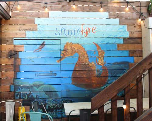 Murals by Lauren Hana Chai at Shorefyre - Koa Ave, Honolulu - Seahorse Mural
