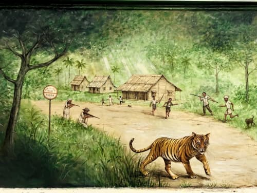 Street Murals by Yip Yew Chong seen at Upper Bukit Timah Road, Singapore - Rail Mall - The Last Tiger