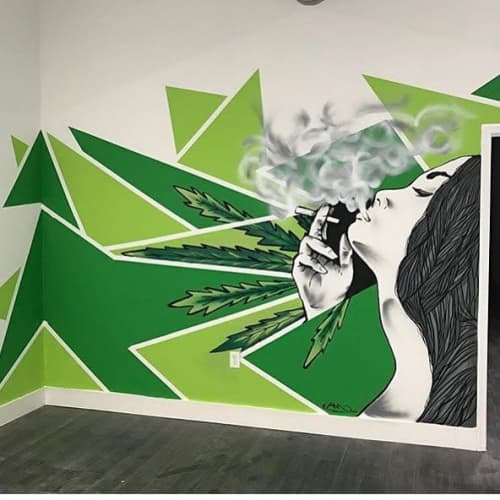 Murals by Rudy Mage at Miracle Leaf Medical Marijuana Doctor, Miami - smoking girl mural