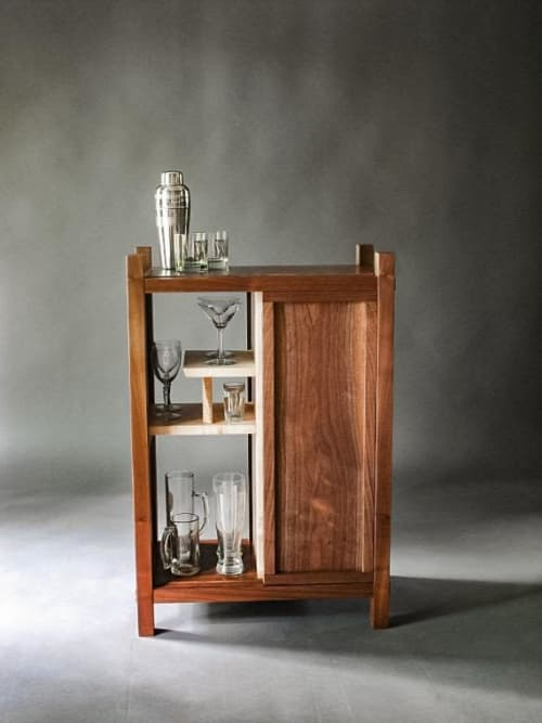 Bar Cabinet - Walnut with Tiger Maple   Furniture by Mokuzai Furniture