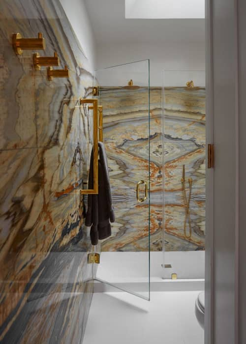 Interior Design by Laurie Blumenfeld Design seen at Private Residence, Brooklyn, Brooklyn - Matchbook Marble Master Bath