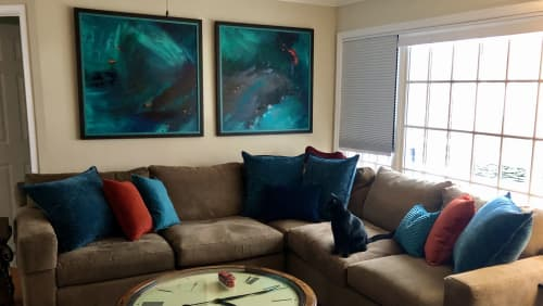Paintings by Jen Sterling seen at Private Residence, Fredericksburg - Under the Wave Diptych