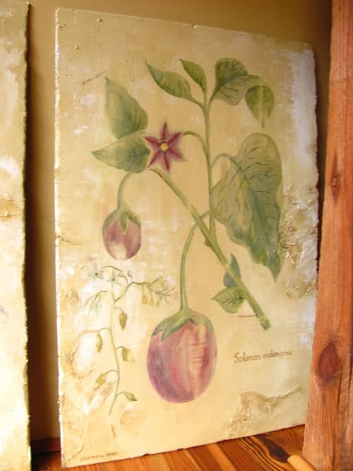Art & Wall Decor by Elliott Mattice Art & Design seen at Charleston, Charleston - Highly distressed ancient inspired botanical diagrams created for Cesca, Charleston location.  Also included are Roman inspired wall treatments, faux aging effects.