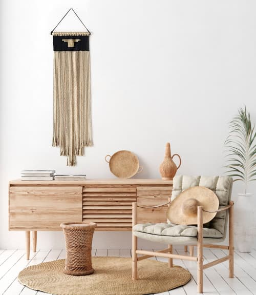 Macrame Wall Hanging by YASHI DESIGNS seen at Private Residence, Los Angeles - Tall Rustic Woven Jute Tapestry - AMARA