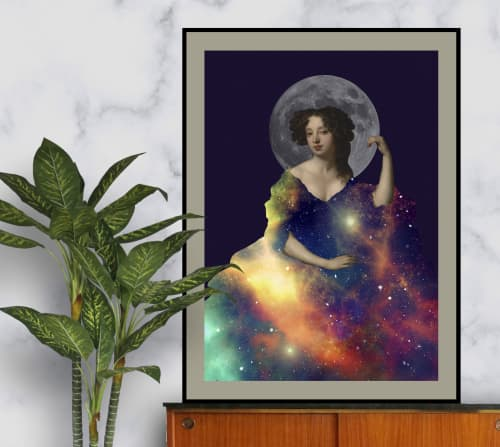 Wall Hangings by MELISE FLORES - Female classic woman figure in a galaxy dress