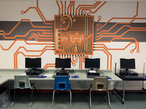 Murals by Rogers Create seen at Richland Center High School, Richland Center - School technology mural