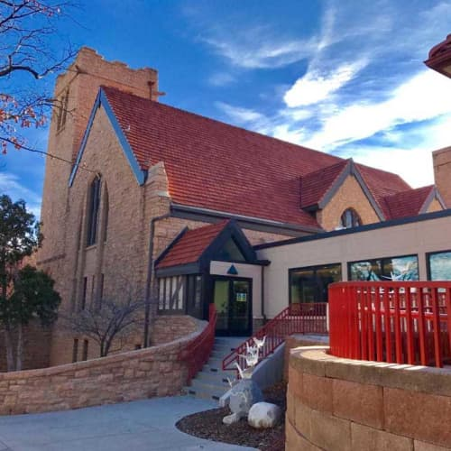 Public Sculptures by KevinBoxStudio. at First Congregational Church, Boulder - Rising Cranes