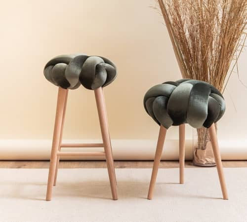 Olive Green Velvet Knot Bar Stool | Chairs by Knots Studio