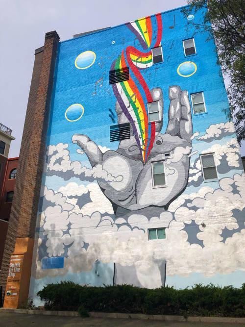 Street Murals by JMel Art seen at Exchange Street, Malden - Spirit In The Sky