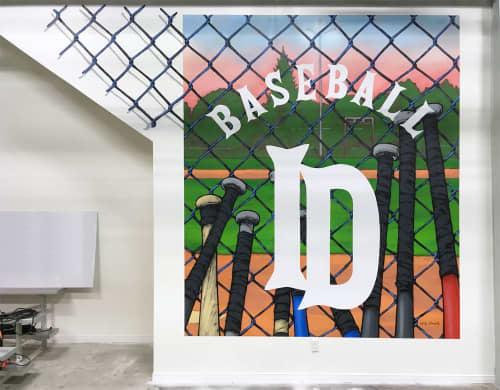 Murals by Patrick Forchild seen at Baseball I.D, Rimouski - Baseball I.D