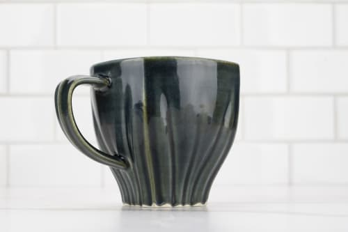 Cups by M.L. Pots seen at Creator's Studio, Borden - Draped Coffee Cup with Glossy Nightfall Grey Glaze - 006